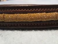 Ruskea otsapanta kultaisella koristeella 39 cm