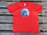 UUSI Hevosaiheinen punainen T-paita, koko 128 cm