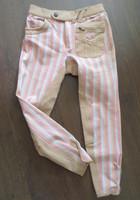 Vaaleanpuna-beigeraidalliset polvipaikkaiset ratsastushousut 152 cm