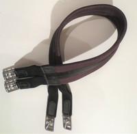 Musta-ruskea topattu satulavyö, joustot molemmissa päissä 120 cm