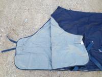 UUSI tummansininen farkkukangasloimi 155 cm