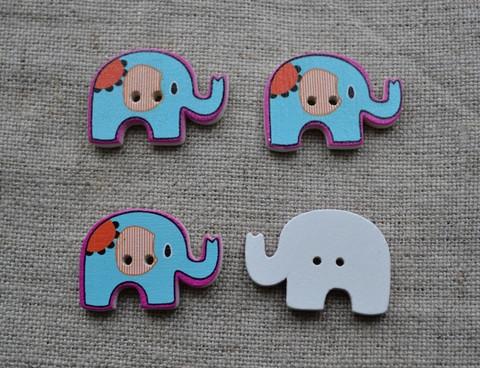 Elefant knapp, turkos