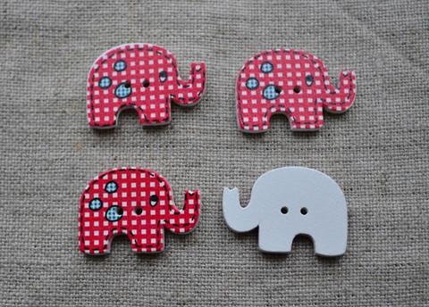 Elefantti nappi, ruudullinen, punainen