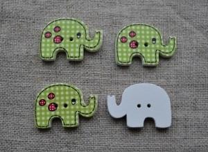 Elefant knapp, rutig, grön