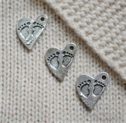 Babyfeet dekoration, silverfärgad