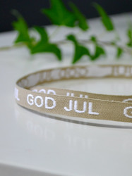God Jul-band, beige & vitt