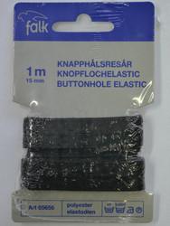 Gummiband, svart med hål