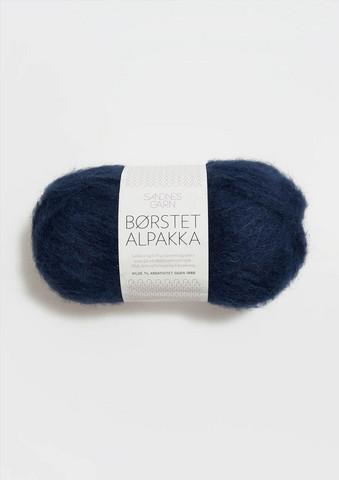 Børstet Alpakka, marinblå 5575