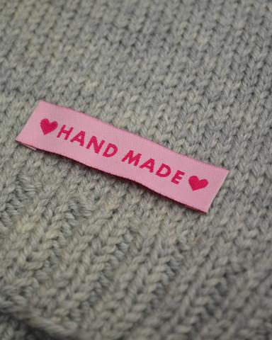 Handmade kangasmerkki, vaaleanpunainen