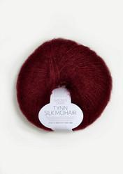 Tunn Silk Mohair, djupt vinröd 4054