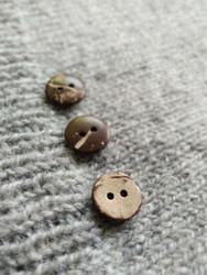 Slät kokosknapp,  15 mm