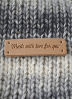 Made with love for you-märke i konstläder, ljusbrunt