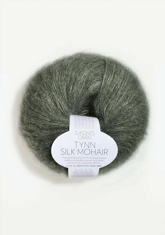 Tunn Silk Mohair, dimmigt olivgrön 9071
