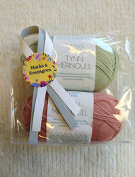 Fyndhörna: Sandnes Merinoull 2 st, korallrosa + ljusgrön