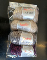 Fyndhörna: Katia Air Lux 4 st, beige+harmaa+luumu