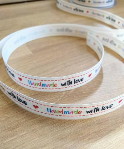 'Handmade with love' nauha 2, monivärinen/musta