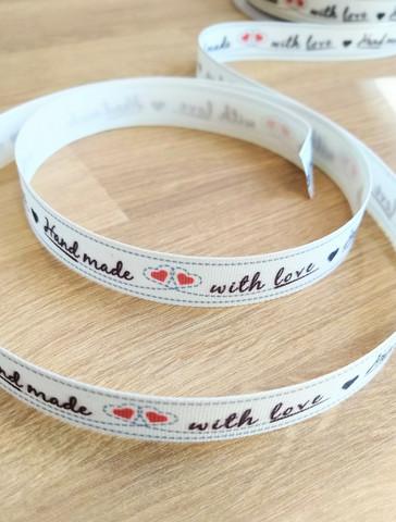 'Handmade with love' nauha 3, punainen/musta