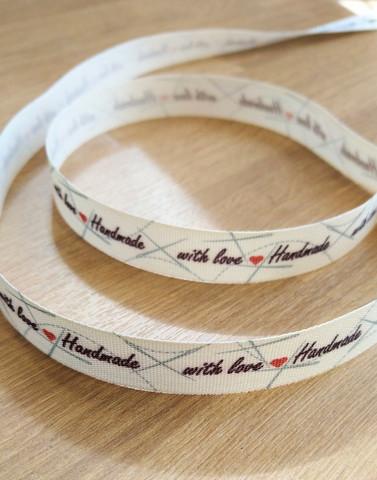 'Handmade with love' nauha 4, musta/punainen
