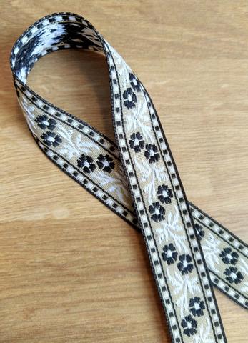 Kudottu nauha 20 mm, musta/valkoinen/beige
