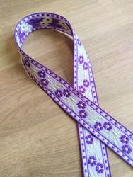 Vävt band 20 mm, lila/gult