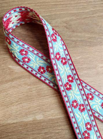 Vävt band 20 mm, blomma, röd/gul/ljus turkos