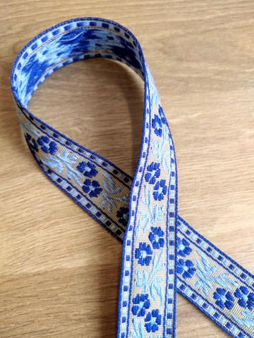 Kudottu nauha 20 mm, sininen/beige