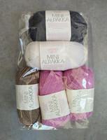 Löytönurkka: Sandnes Mini Alpakka 5 kpl, roosa+beige+valk+sininen