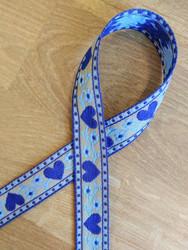Kudottu nauha 20 mm, sydän, sininen/beige