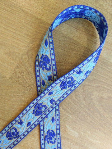 Vävt band 20 mm, ros, blå/beige