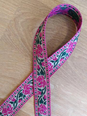 Vävt band 20 mm, ros, cerise/grön/beige