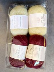Fyndhörna: Sandnes Tynn Silk Mohair 4 st, vinröd+ljusgul