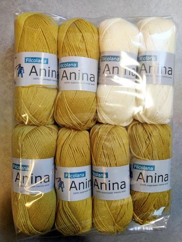 Fyndhörna: Filcolana Anina 8 st, vit + ljus senap