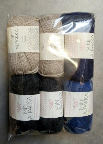 Fyndhörna: Sandnes Mini Alpakka 6 st, 4 färger (beige/koks/blå)