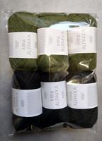 Fyndhörna: Sandnes Mini Alpakka 6 st, svart + grön