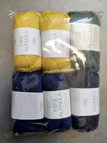 Löytönurkka: Sandnes Mini Alpakka 6 kpl, 4 väriä (keltainen/vihreä/sininen)