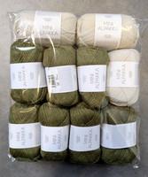 Fyndhörna: Sandnes Mini Alpakka 10 st, grön+kalk