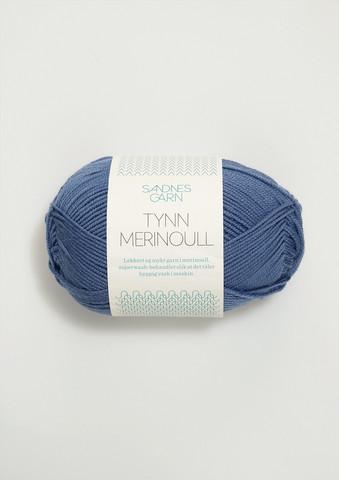 Sandnes tynn merinoull, jeansblå 6052