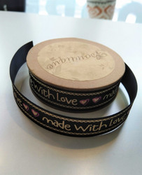 Made with love-bandrulle, svart/naturvit/rosa
