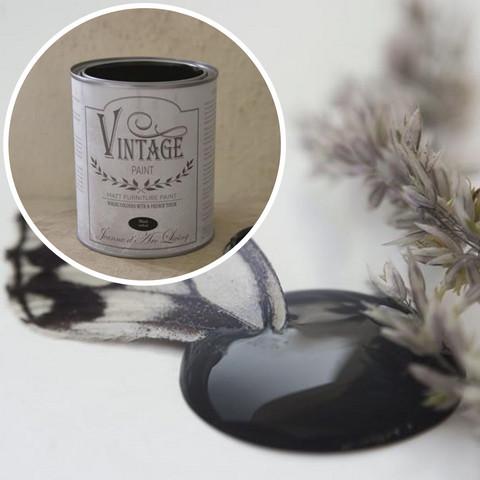 Kalkkimaali - Musta - JDL - Vintage Paint - Black Velvet - 700 ml