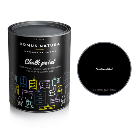 Kalkkimaali - Domus Natura - Chalk Paint - Firestone Black - Musta - 250 ml