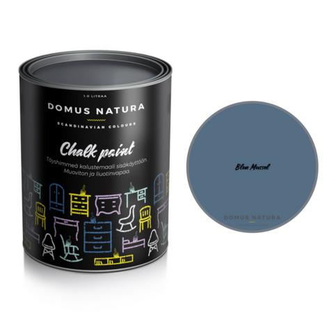 Kalkkimaali - Domus Natura - Chalk Paint - Blue Mussel - Sininen - 1 litra