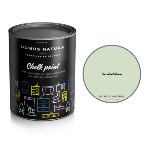 Kalkkimaali - Domus Natura - Chalk Paint - Succulent Green - Vaaleanvihreä - 1 litra