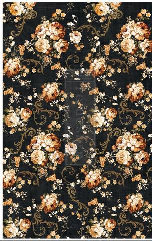Decoupage-arkki - 48x76 cm - Dark Floral - Prima Redesign Decor Tissue Paper