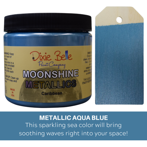Kalkkimaali - Dixie Belle Moonshine Metallic - Sininen - Caribbean