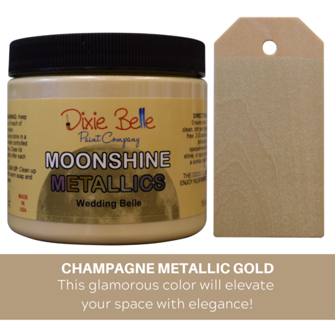 Kalkkimaali - Dixie Belle Moonshine Metallic - Shampanja - Wedding Belle