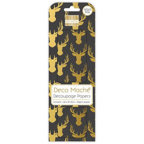 Decoupage-arkki - Gold Stags - Deco Mache