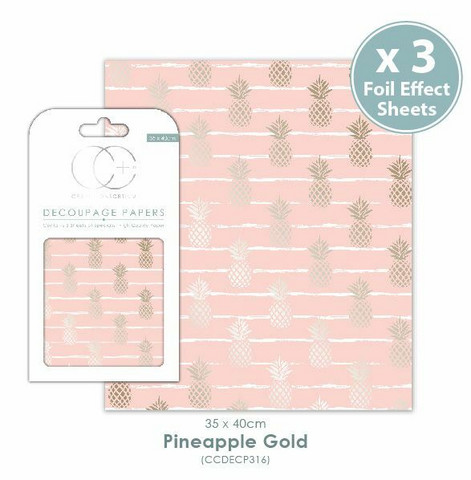 Decoupage-arkki - Pineapple Gold - Craft Consortium