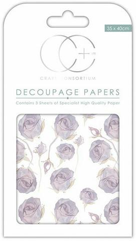Decoupage-arkki - Lilac Roses - Craft Consortium
