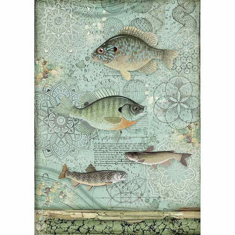Decoupage-arkki - Fish - A4