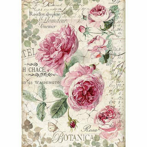 Decoupage-arkki - Botanic English Roses - A4